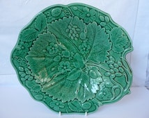 "SALE: Antique Jade Green Majolica Berry Dish - Mid Victorian G F Bowers Tunstall 9 3/4"" 24.5cms"