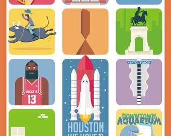 Houston Art Poster,  Houston Prints, Wall Decor, Bar Decor, Travel Art, Kitchen Art, Retro Poster