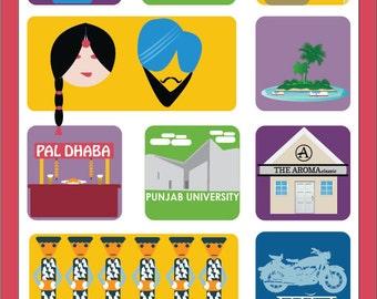 Chandigarh Art Poster,  Chandigarh Prints, Wall Decor, Bar Decor, Travel Art, Kitchen Art, Retro Poster