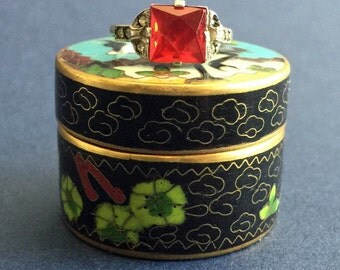 Vintage Art Deco Silver Ring with Red Square-Cut Glass Stone & Marcasites, 1930s/40s