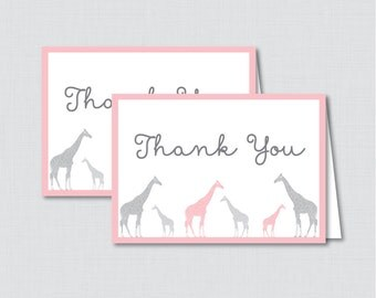 Printable Giraffe Thank You Card - Printable Instant Download - Pink and Gray Giraffe Baby Shower Thank You Card - 0011-P