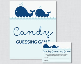Whale Baby Shower Candy Guessing Game Printable - Guess How Many Candies, M&Ms, etc - Instant Download-  Navy Nautical Candy Game 0033-N