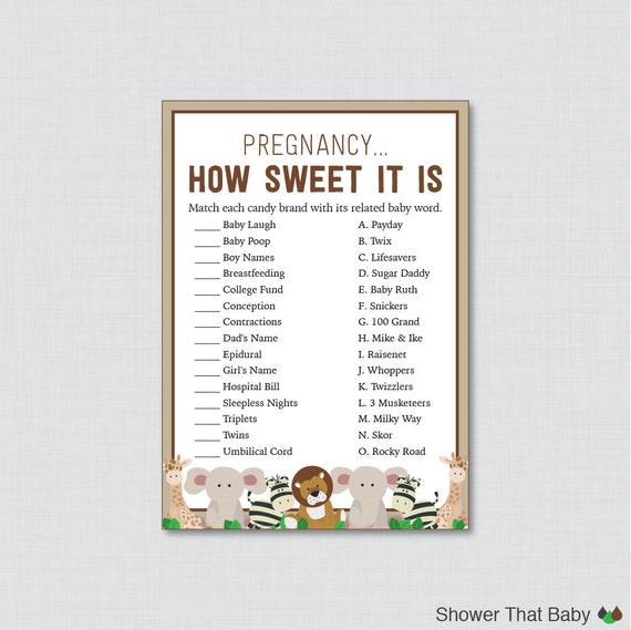 safari baby shower pregnancy how sweet it is game printable instant