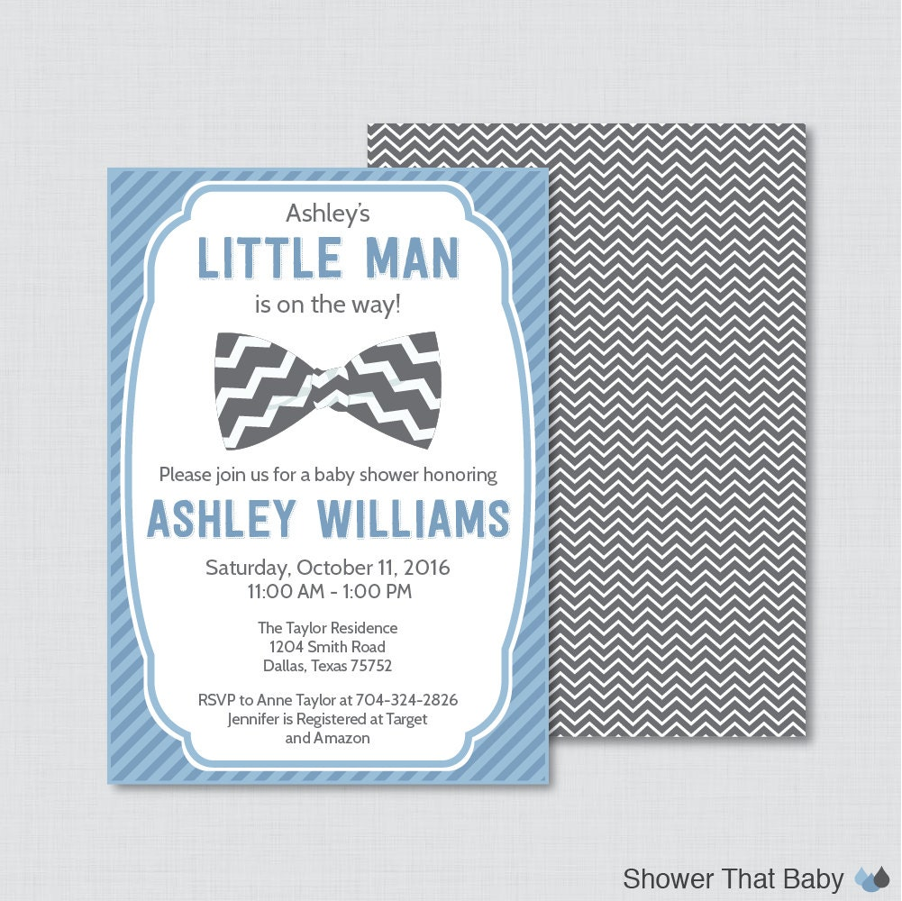 Bow Tie Baby Shower Invitation Printable Or Printed Blue Bow