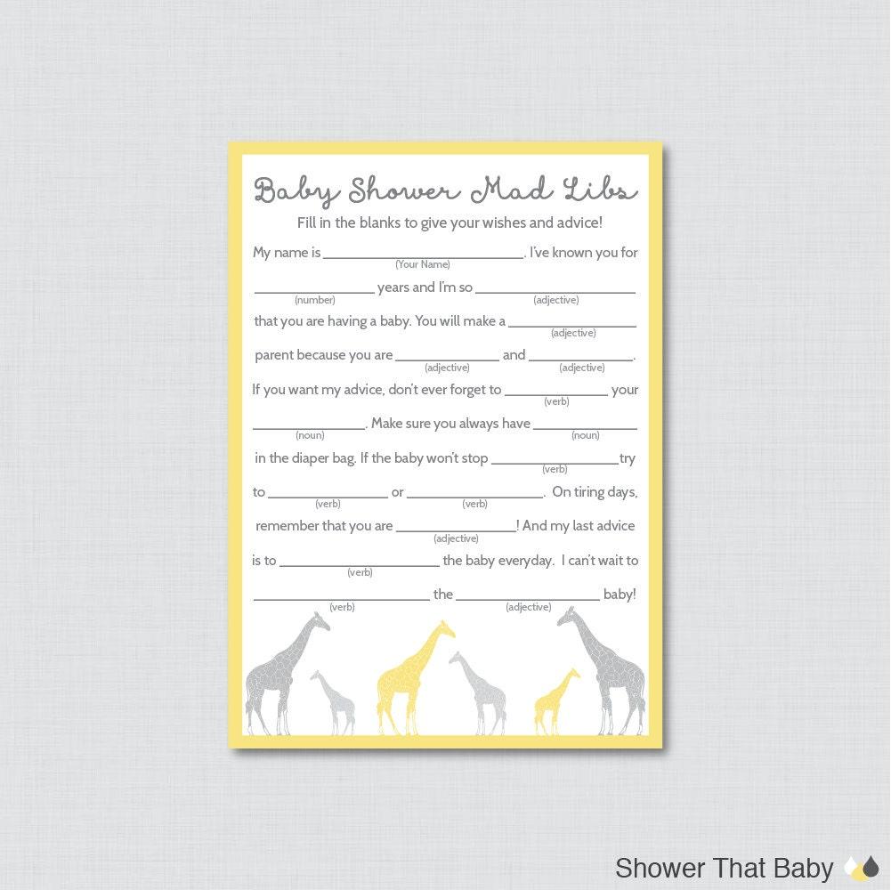 Giraffe Baby Shower Mad Libs Printable Baby Shower Advice