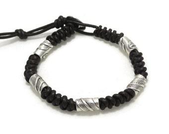 Men's Leather Bracelet, Man's Bracelet, Braided Leather Bracelet, Knot Bracelet, Mens Gift, Man Gift, Gift for Him, Dad, Father, Boyfriend