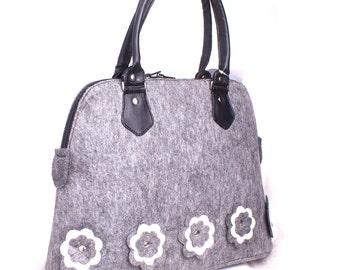 Felt tote bag Shopping bag Floral felt bag Felted shopper Grey felted bag Felt shoulder bag Felt purse Woman handbag Ladies messenger bag