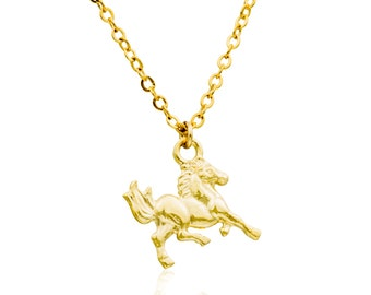 Dainty Horse necklace -14k gold filled everyday horse pendant, Animal jewelry, gold necklace,