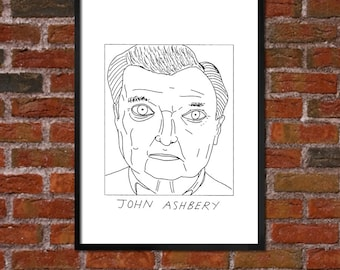 Badly Drawn John Ashbery - Literary Poster - *** BUY 4, GET A 5th FREE***