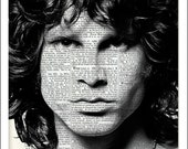 Jim Morrison, Dictionary Art, Rock Star, Print, Poster, Upcycled, The Doors, Home Wall Decor, Prints and Posters, Gift Ideas, Shy, Troubled