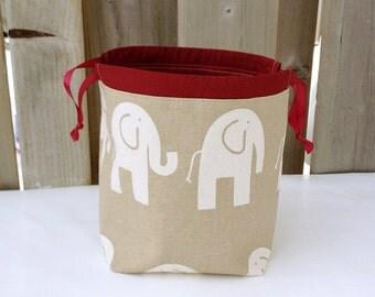 Elephant print Knitting Bag, Knitting Project Bag for two at a time sock knitting, Drawstring Tote Bag - Small Socksack