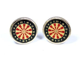 Vintage dart board cufflinks, darts cuff links, darts player, sports cufflinks, silvertone dartboard, gold, red and black