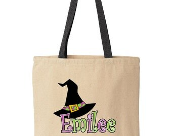 Personalized Halloween treat bag.  Tote bag for trick-or-treat.  Halloween bag.  Halloween bucket. Witch hat tote by Pink Pig Printing.