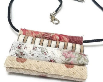 Steampunk pink and cream fabric bead pendant for necklace