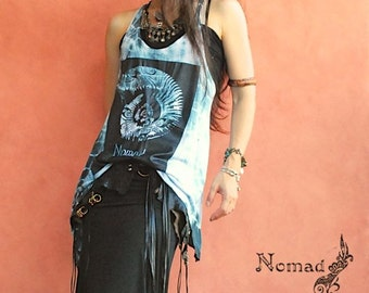 Gypsy,tank tops,ammonite,Tie-dye top.asymmetry,tribal,bohemian,hippie,boho