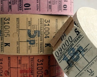 12 Vintage British Transport tickets, ticket width 30mm, listing is for 3 tickets of each colour. (TR2)