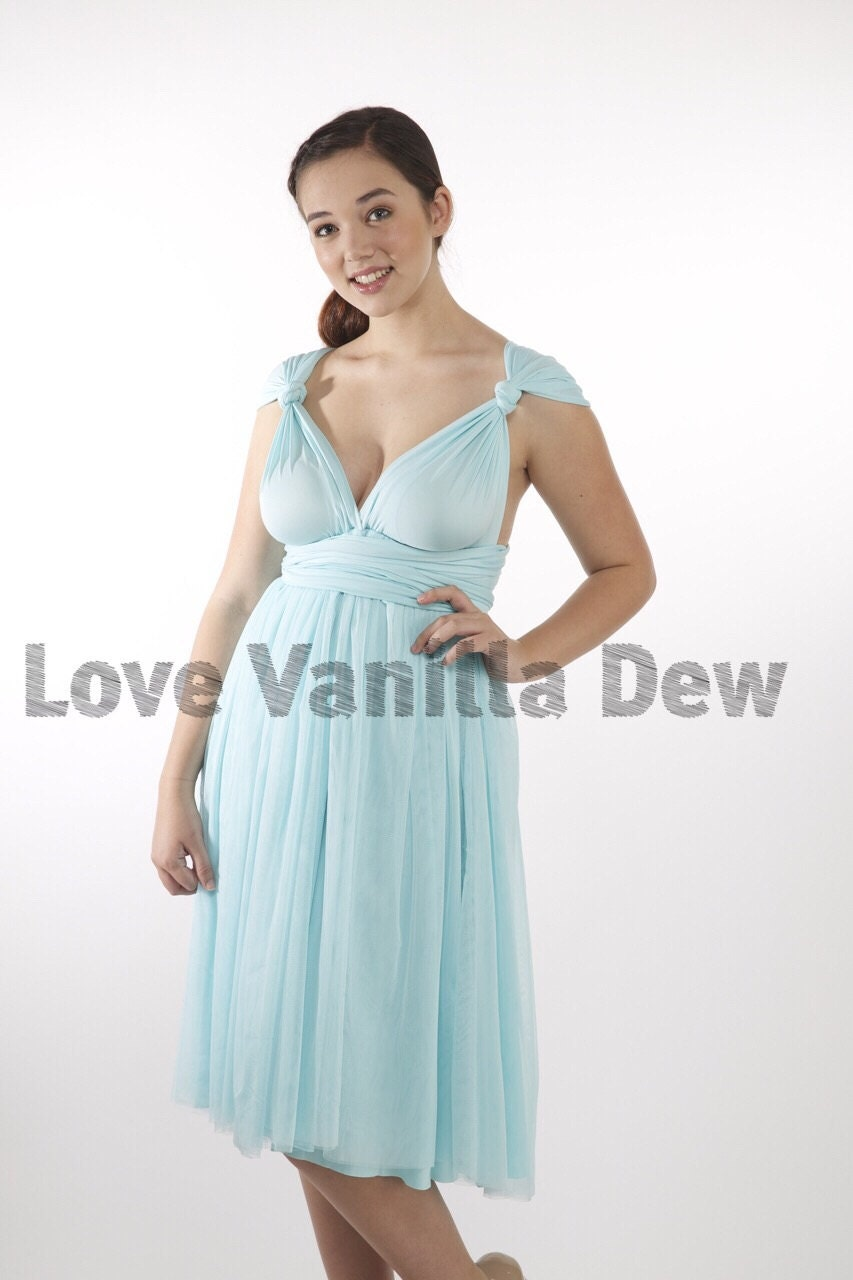 Bridesmaid dress infinity dress pastel blue tulle knee length zoom ombrellifo Choice Image
