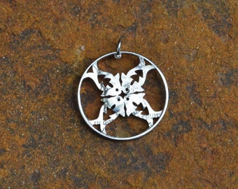Fish pendant, geometric pendant, fish design half dollar hand cut coin