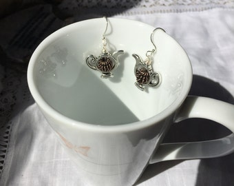 TEAPOT and brass EARRINGS