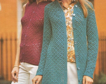 Instant Download - PDF- Vintage DK Coat / Cardigan Crochet Pattern (AD16)