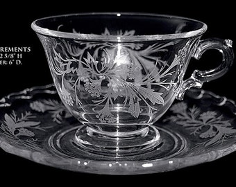 Fostoria Lovely Crystal Heather Cup and Saucer