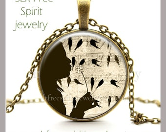 Make a Wish Necklace, Dandilion, Birds on a wire, musical notes, Glass Pendant, Girl with Dandilion, Nature, Photo Pendant, Gift for Girls