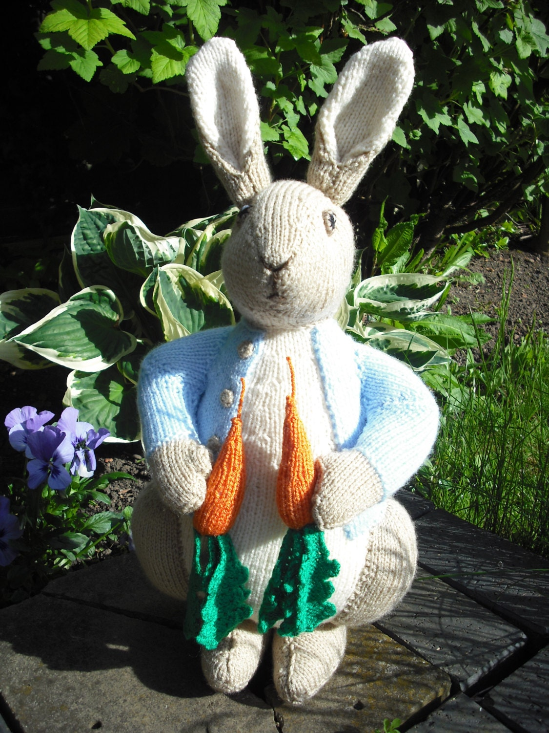 Knitting Pattern Peter Rabbit : Hand Knitted Peter Rabbit Stuffed Toy Beatrix Potter made