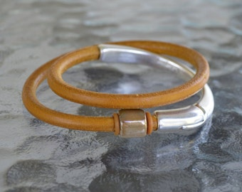 Hazelnut double wrapped Leather Silver Hook Bracelet