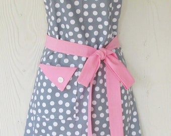 Polka Dot Apron, Gray and White Polka Dots, Gray and Pink, Vintage Style, Women's Apron, KitschNStyle