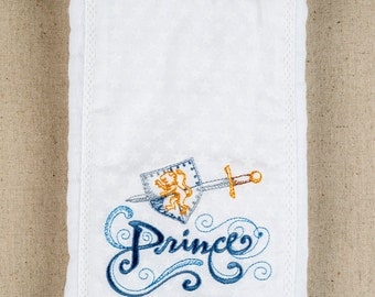 Baby Boy Burp Cloths Prince Blue & White