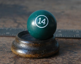 "1968 Miniature Billiard Ball Numbered 1.5"" Green 14 XIV Fourteen White Old Pool Set Paper Weight Man Cave Vintage Small Present"