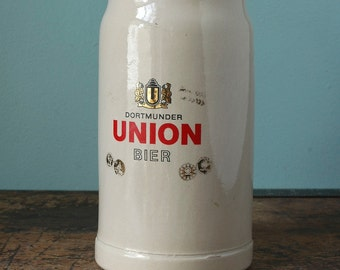 Oktoberfest 1 Liter Beer Stein Dortmunder Union Bier German Humpen Beer Mug German Mug Made in Germany Ceramic Gray