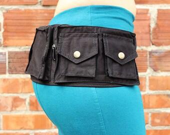 Steampunk 13-Pocket Belt Black (hip belt, pocket belt, utility belt, bandolier, hip bag, pouches, festival clothing, festival belt)