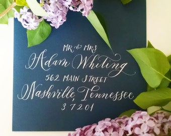 Wedding Envelope Calligraphy; Hand Addresed POPPY style