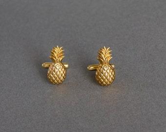 Pineapple Cufflinks Men's Cufflinks Novelty Cufflinks Steampunk Style Tiki Party Vintage Style Antique Brass Men's Gifts