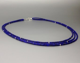 Multi string Lapis Lazuli necklace with Sterling silver - natural genuine Lapis - blue and silver Necklace - Statement Necklace-fine jewelry