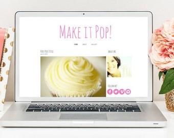 Blogger Template, Blog Theme, Website Template, Lifestyle Blogger, Dessert Blog, Pink Blog, Photography Blogger