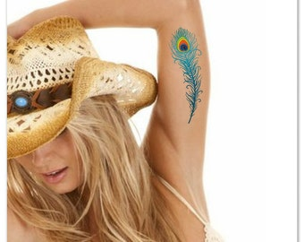 Temporary Tattoo Peacock Feather Waterproof Ultra Thin Realistic Fake Tattoos