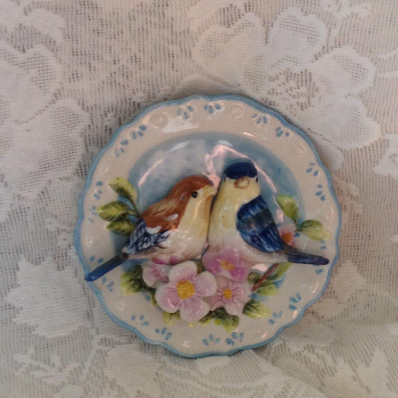Ganz 3d Bird Plate Chickadees Songbirds Pink Flowers Vintage