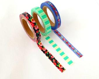 Set of 3 skinny washi tapes - floral & stripes