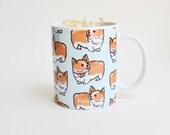 Welsh Corgi Pattern Mug | Corgi Mug | Cute Mug | Puppy Mug | Dog Mug