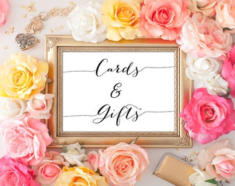 75% OFF SALE - Cards and Gifts Wedding Sign - 5x7 Wedding Printable Art, Printable Wedding Sign, Wedding Decor, Reception Printable