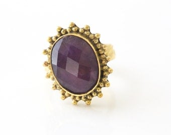 Adjustable Amethyst  Ring Oval Faceted , Amethyst Ring, Brass ring, Cut stone ring, Faceted Amethyst Ring