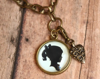 Custom Silhouette Necklace | One Pendant with one charm