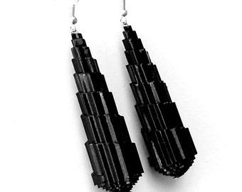 Black Dangle Earrings,  1st Anniversary Gift, Black Earrings, Paper Jewelry, Paper Earrings, Mom Gift, Chrysler Building Geometric Earrings