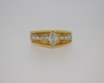 0.80 Carat T.W. Marquise Cut Diamond Certified Engagement Ring 18K Gold