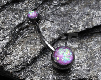 Purple Opal Sparkle Basic Belly Button Ring