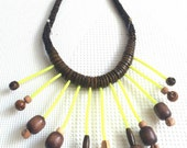 Wood Beads Necklace, Yellow Neon Fringe, Tassels Necklace, Brown Beaded Necklace, Boho Necklace, Summer Necklace, Hippster Necklace, Chunky