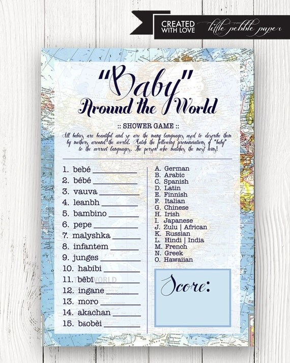 Welcome to the World Baby Shower Game Baby in the Languages