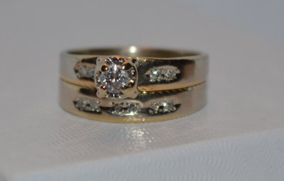 vintage wedding band engagement ring combination gold and